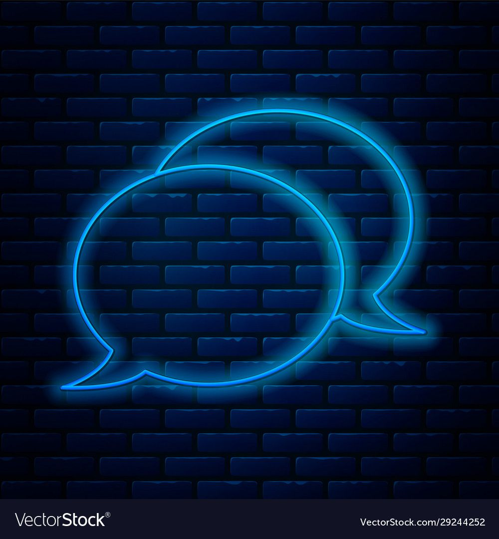Glowing neon line speech bubble chat icon isolated vector