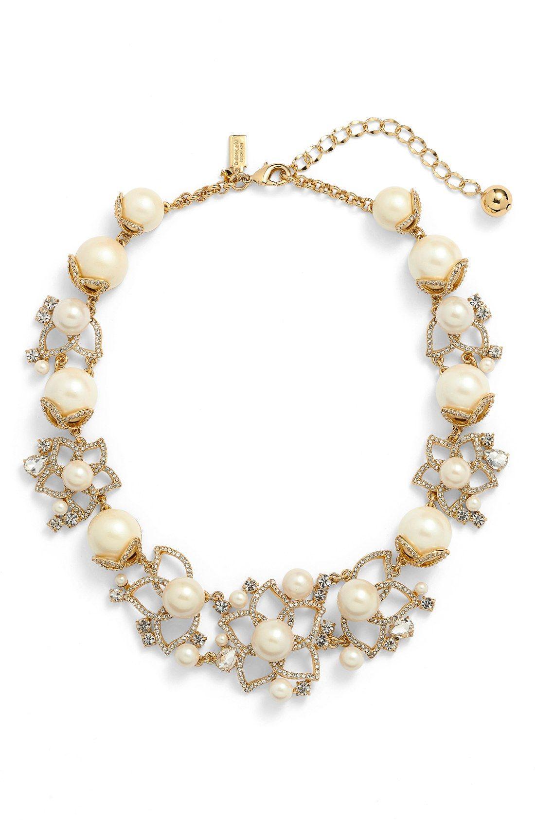 Kate Spade Bridal Necklace Bouquet Faux Pearl Statement