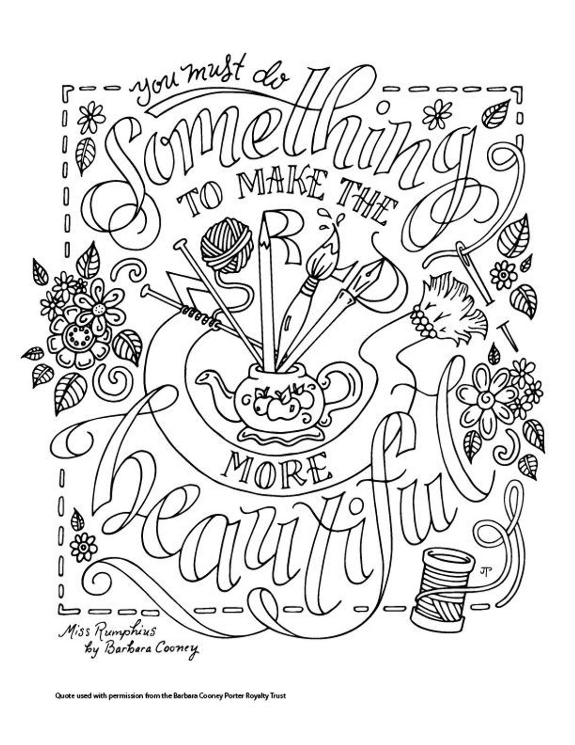 Miss Rumphius Coloring Page Barbara Cooney Quotes Children S