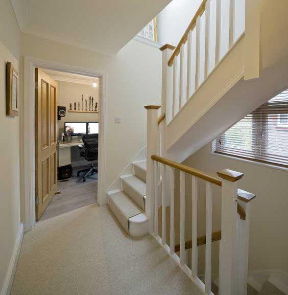 Stair Case To Loft And First Floor Carpet And Runner White Door Frame Wooden Doors Zoldertrap Zolder Verbouwen Huis