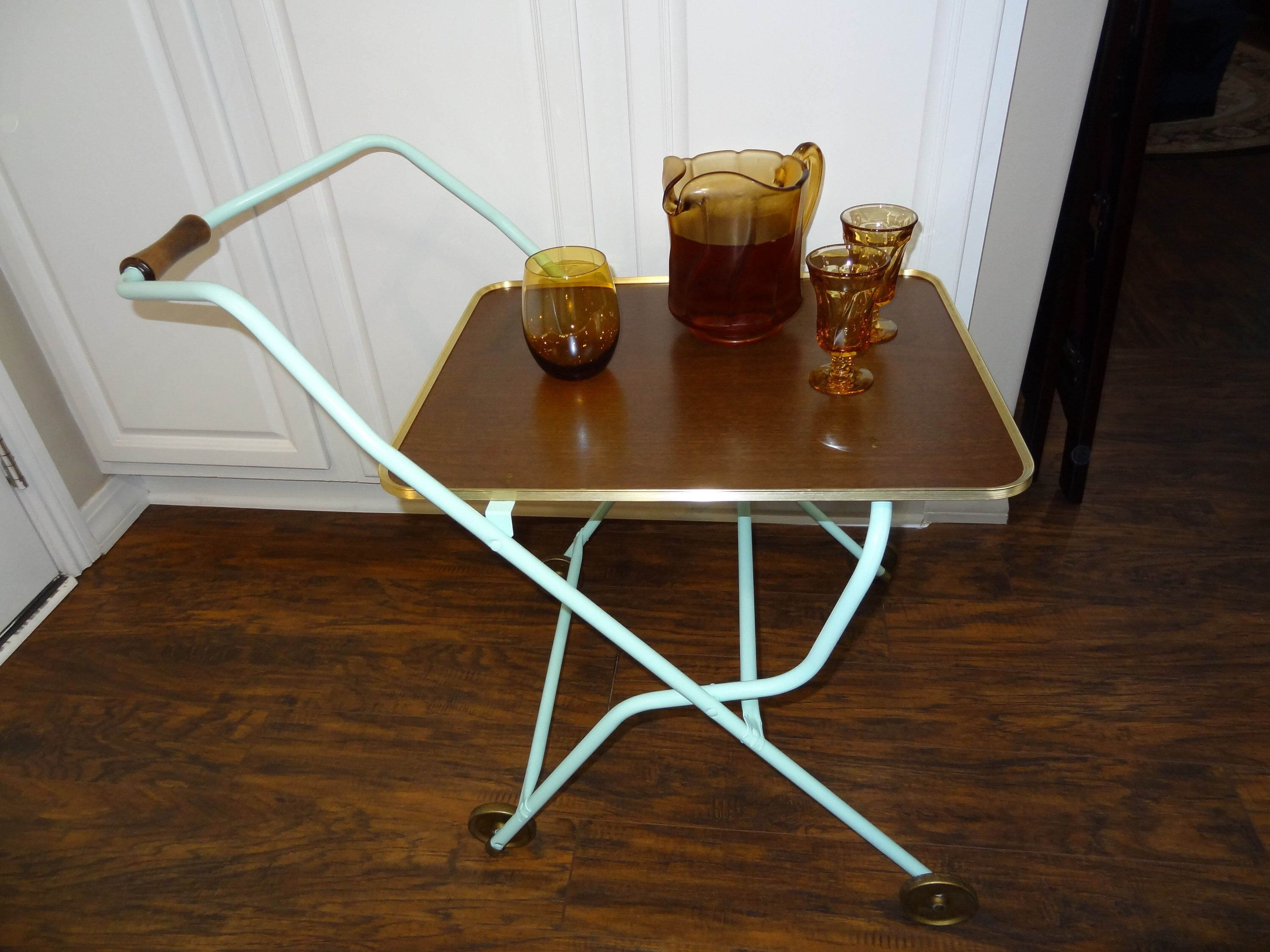 Mid Century Portable Folding Rolling Cart Serving Tray With Wheels And Formica Tray Bar Cart Folding Tray Table In 2020 Tray Table Rolling Cart Formica
