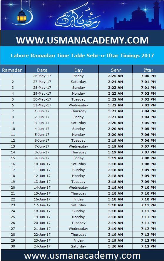 Ramadan 2017 Timings Calendar Schedule Ramazan Sehar O Iftar