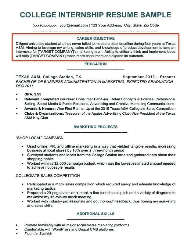 college student career objective example write for resume