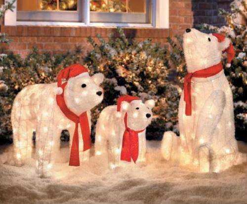 set of 3 lighted christmas santa polar bears display outdoor holiday yard decor ebay 25000 - Lighted Animals Christmas Decoration