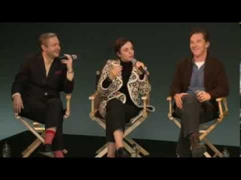 """Sherlock: Cast Interview from Apple, Feb. 4 2014. Benedict Cumberbatch gets the giggles around 38:00 and Steven Moffat has to rein him in. """"Oh Benedict, pull yourself together."""""""