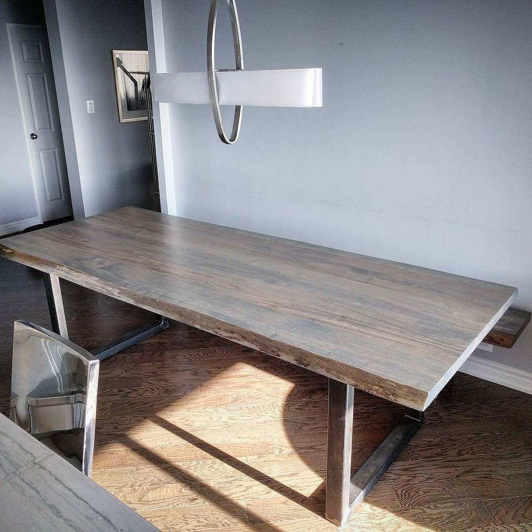 Grey Stained Live Edge Ambrosia Maple Dining Table And Matching Bench For Some Nice Clients In