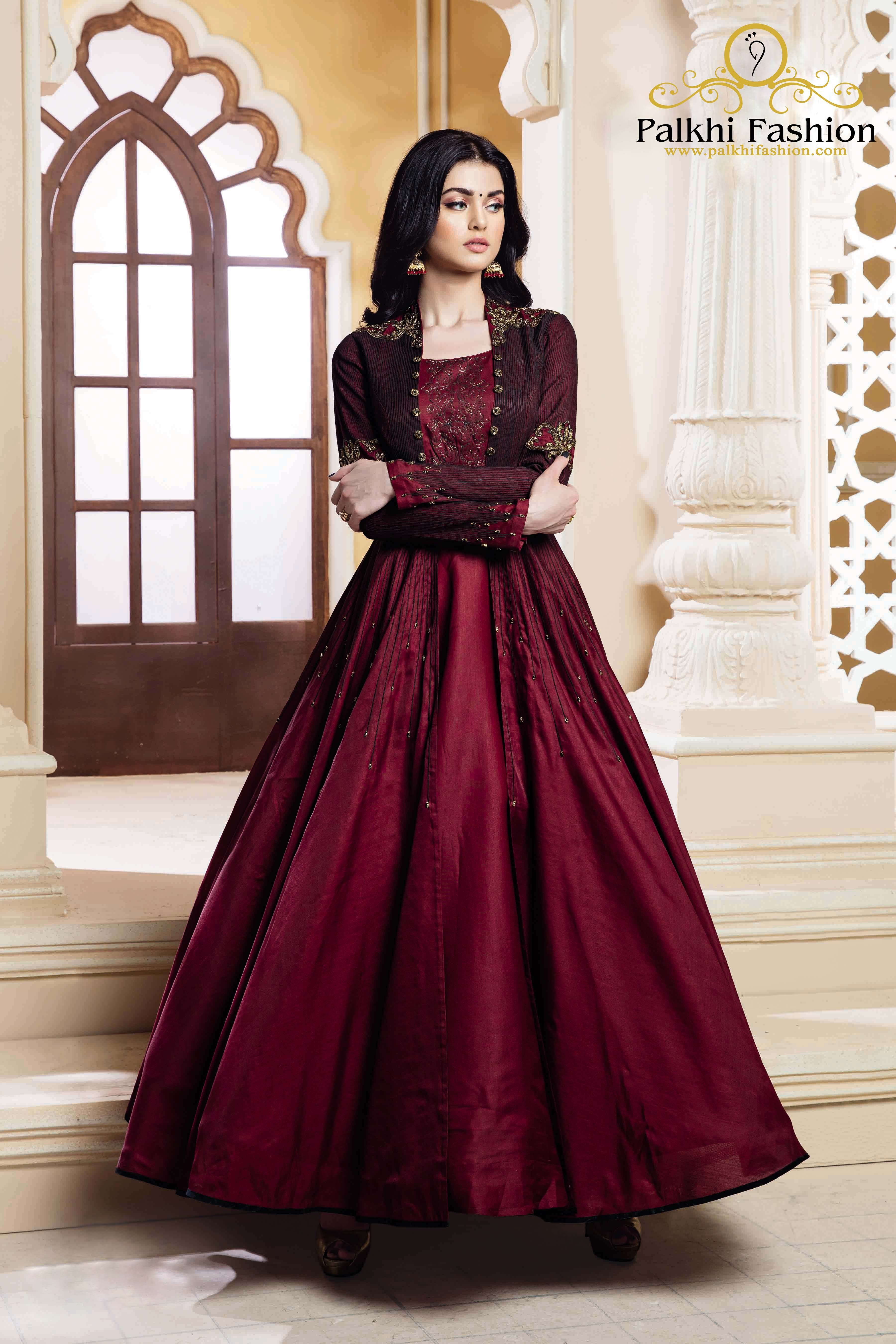 Maroon pure silk designer outfit with trendy style in latest