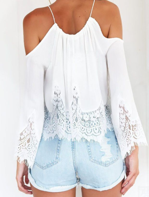 29eb680f0caa6 Dainty Boho Cold Shoulder Lace Top
