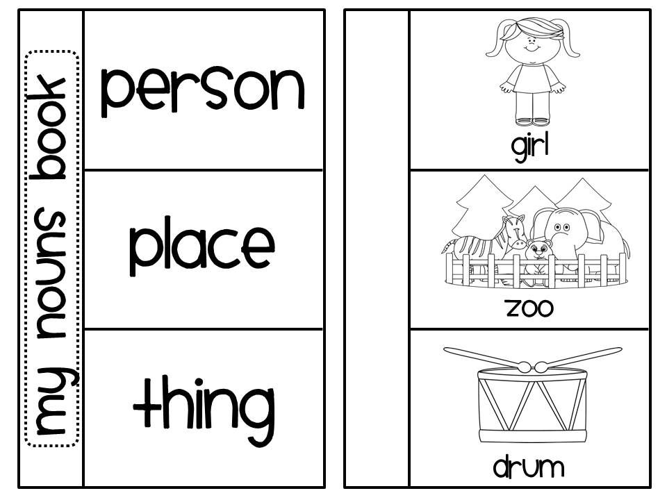 Nouns Book (Person Place Thing Sorting Activity) | Literacy, Books ...