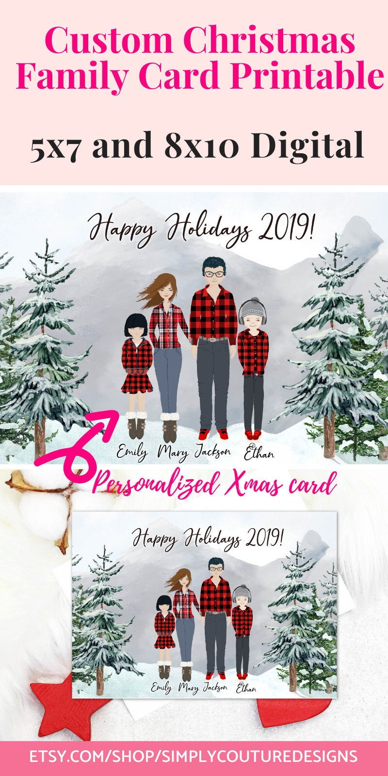 Personalized Christmas Cards Printable Custom Family Portrait Etsy Custom Illustrated Holiday Cards Personalised Christmas Cards Personalized Holiday Cards