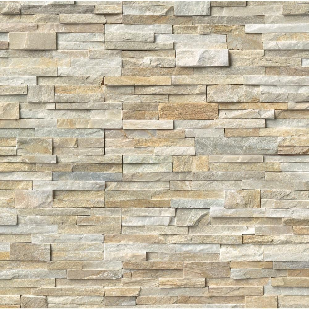MSI Golden Honey Ledger Panel 6 in. x 24 in. Natural Quartzite Wall ...