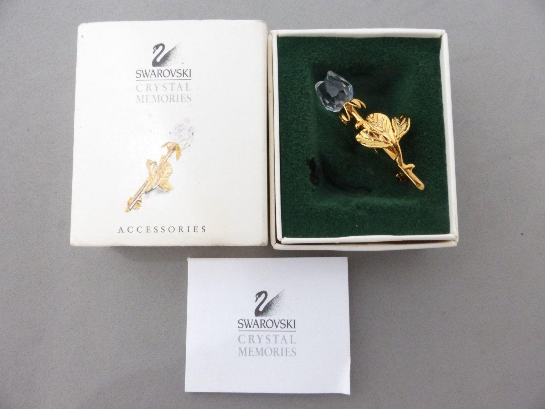 Swarovski Crystal Memories crystal rose brooch in original box AN57 by MeyankeeGliterz on Etsy