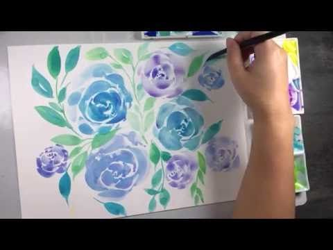 Water Colour Floral Tutorial Roses Background In Blue And Green