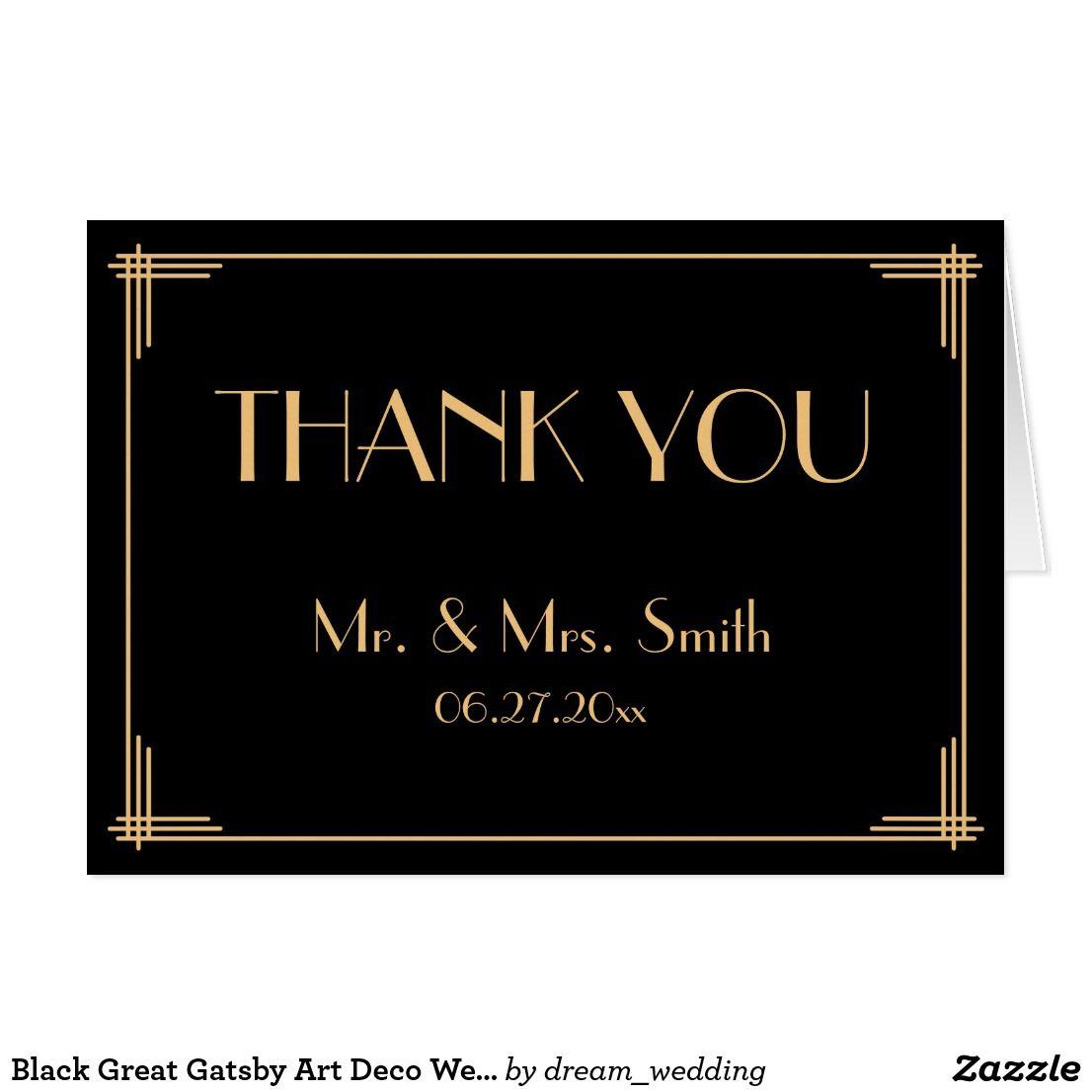 Black Great Gatsby Art Deco Wedding Thank You Card | Zazzle and ...