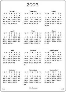 Free Printable Yearly Calendars From 2003 Yahoo Image Search