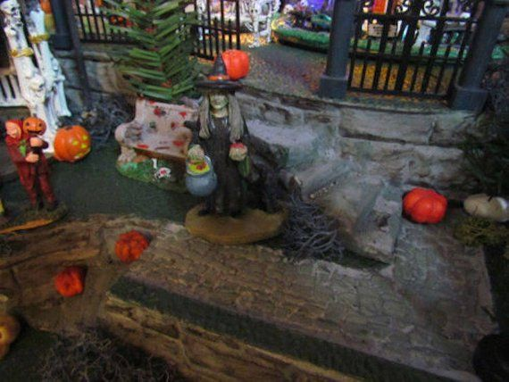 Haunted Halloween VILLAGE DISPLAY BASE, Dept 56, Lemax miniature, Multi level Curving 42x12 Modular to Grow!  Dept 56 Snow village Nop-h #halloweenvillage