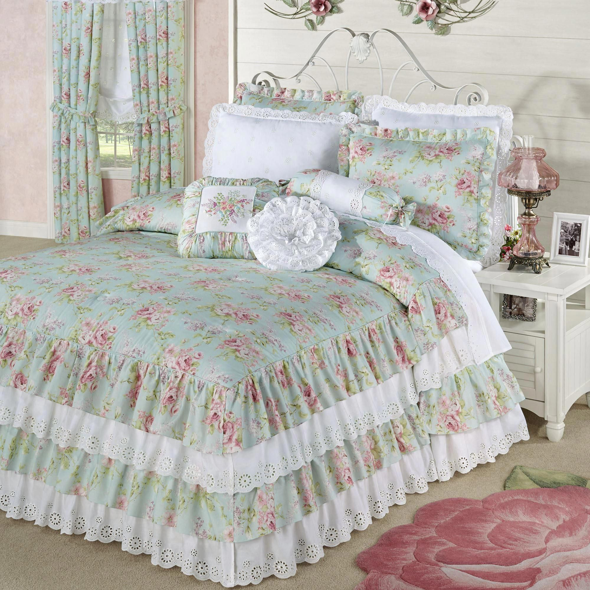 Cottage rose aqua mist floral grande ruffled bedspread
