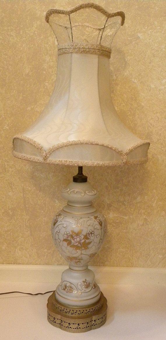 Vintage Hollywood Regency Large Lamp White Frosted