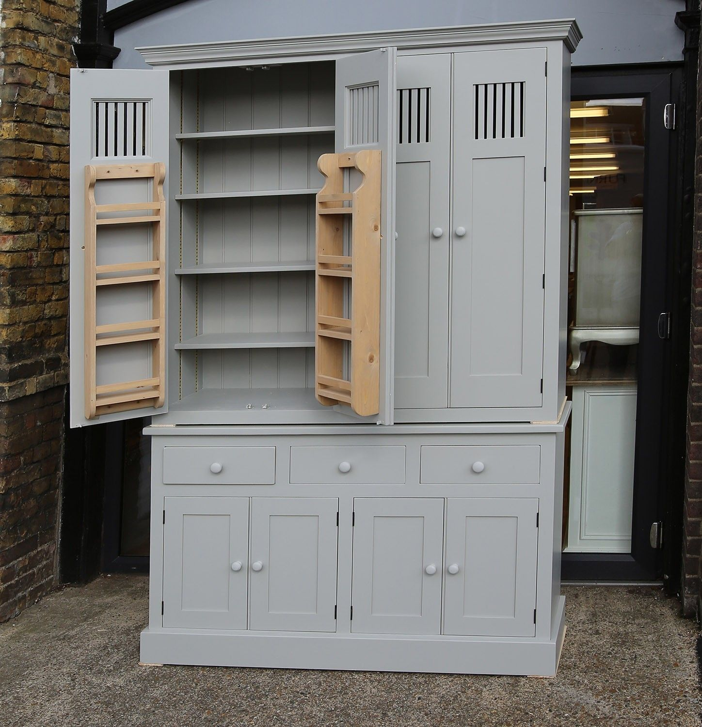 Farrow and Ball Painted Large 4 Drawer Larder Cupboards With Vented Doors In All Sizes & Farrow and Ball Painted Large 4 Drawer Larder Cupboards With Vented ...