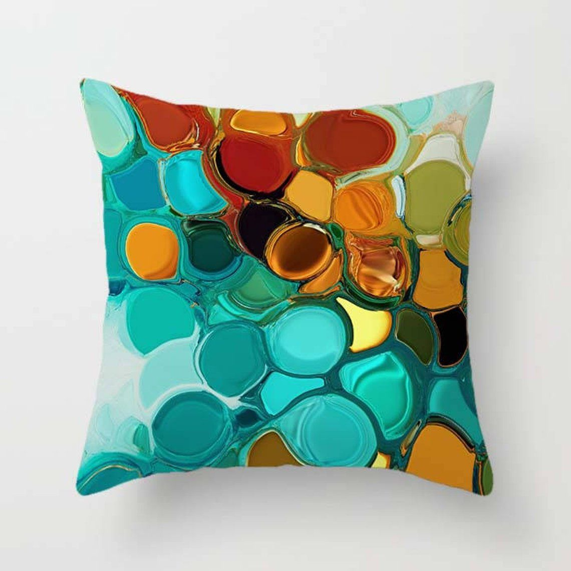 Teal Orange Throw Pillow Covers Decorative Pillow Case Cushion Covers Abstract Pillow Colorful Mix Match Blue Turquoise Green Pillow Sham Teal Throw Pillows Orange Throw Pillows Throw Pillows