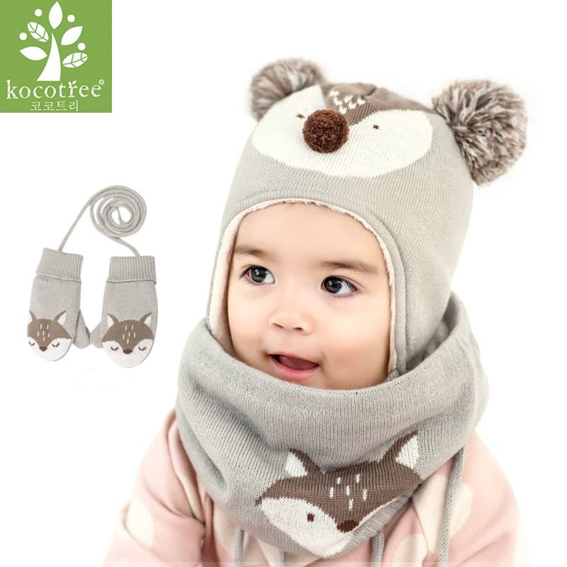 42e4d940dd0 Kocotree 2pcs lot Baby Winter Hat   Scarf Baby Winter Cap Children Warm  Scarf For Boys Suit Beanie Hats Scarfs For Girl Boy