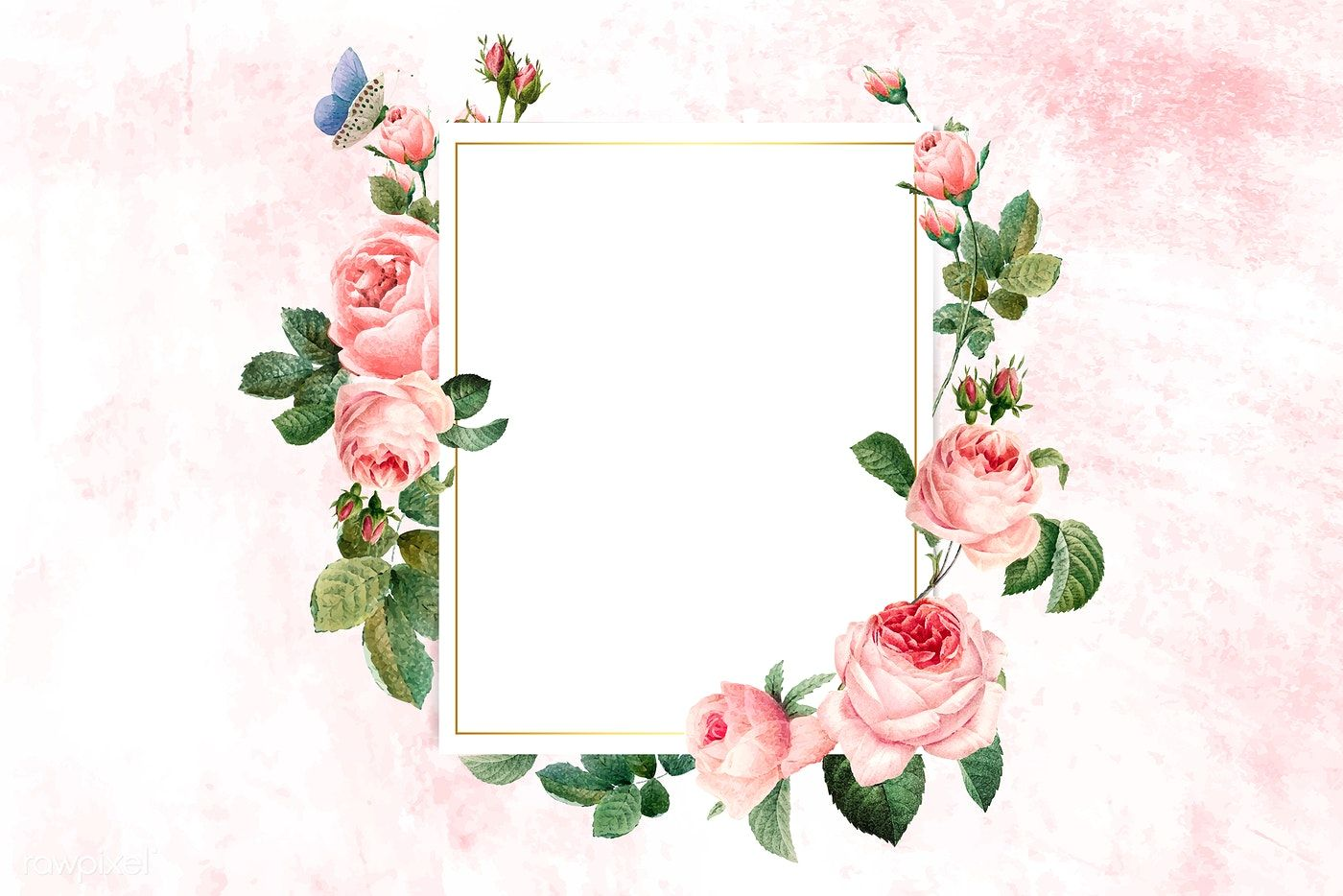 Download Premium Vector Of Floral Rectangular Frame On A Pink Concrete Pink And White Background Rose Frame Flower Frame