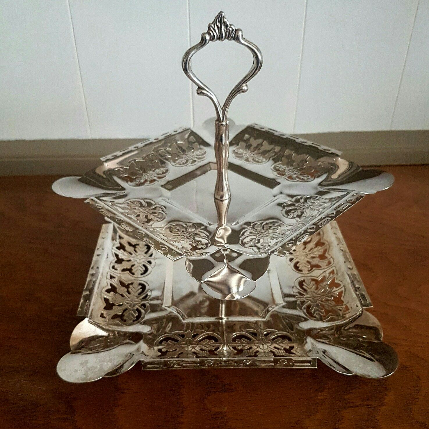 Silver Plated Vintage Cake Stand Two Tier YoreVintage1