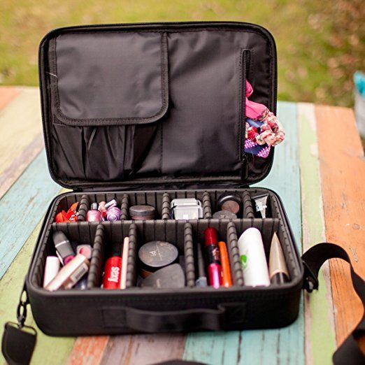 Portable Large Travel Oxford Soft Makeup Bag With Mirror In Black Joligrace Brush Compartment Cosmetic Holder Pro