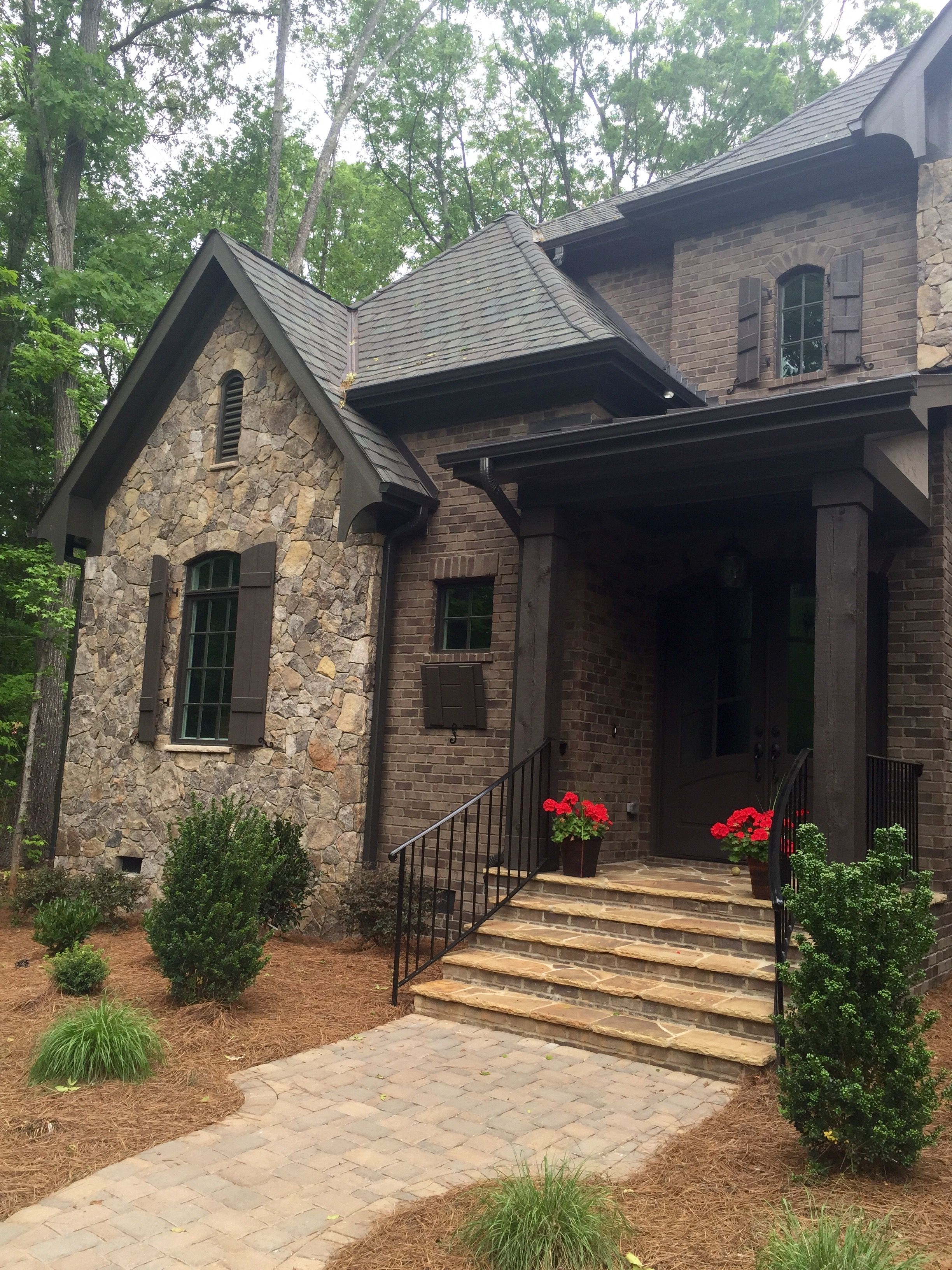 Black Fascia House Contemporary Exteriors Farmhouse: ARH Asheville 1131F Plan (Exterior 40) Stone: Oakridge
