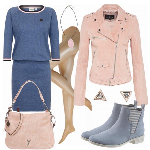 Schöner Freizeitlook aus Naketano Kleid, rosa Lederjacke und