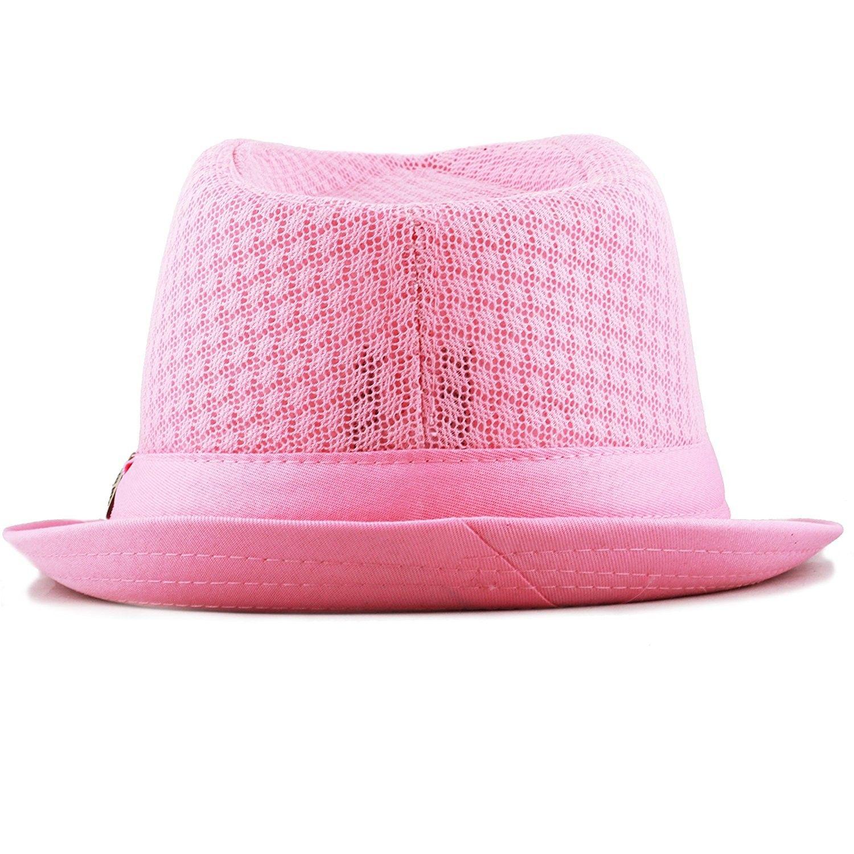 eb4ddba4f6e5b 200G1015 Light Weight Classic Soft Cool Mesh Fedora Hat - Lt. Pink ...