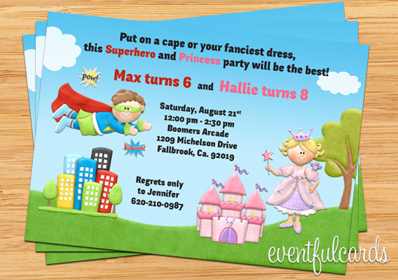 kids superhero and princess joint birthday party invitation