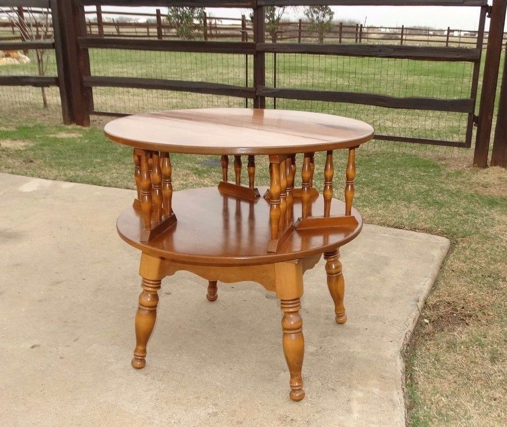 17739 Vintage Ethan Allen Round Revolving Drum Table 2-Tier Maple Furniture - 17739 Vintage Ethan Allen Round Revolving Drum Table 2-Tier Maple