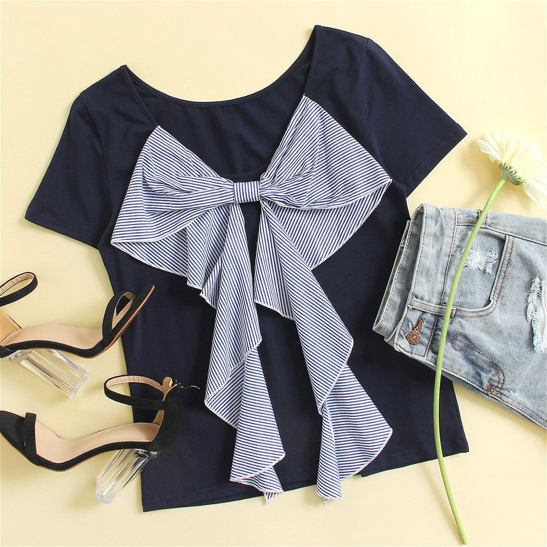 Mix & Match Exaggerated Striped Bow Embellished T-shirt