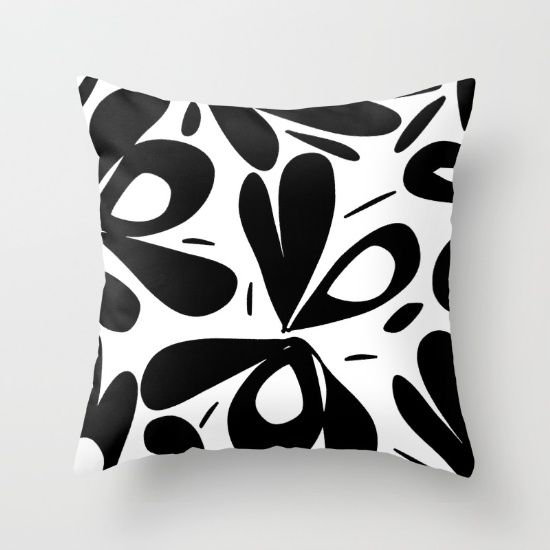 ink flower petals 2 Throw Pillow