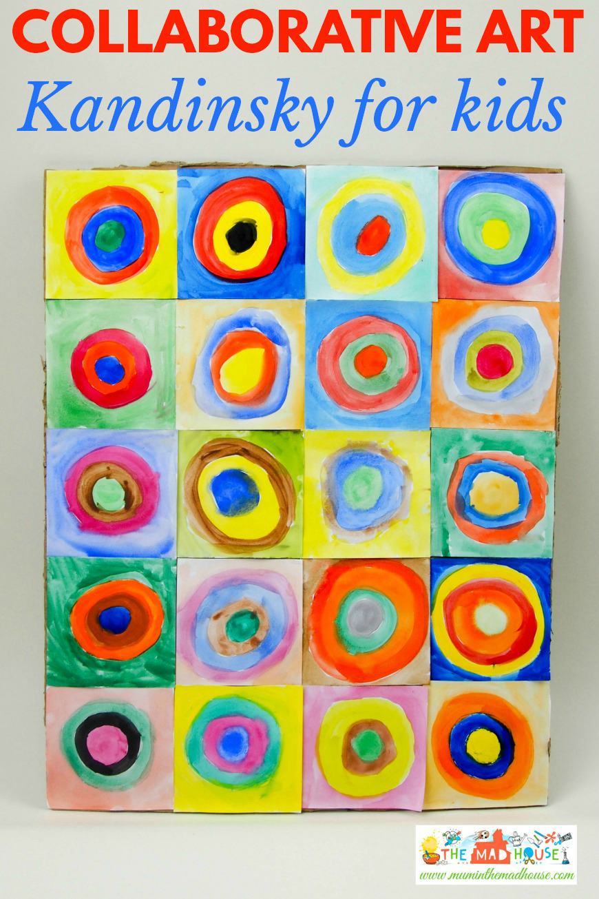 Kandinsky for kids concentric circles in squares great for collaborative art project
