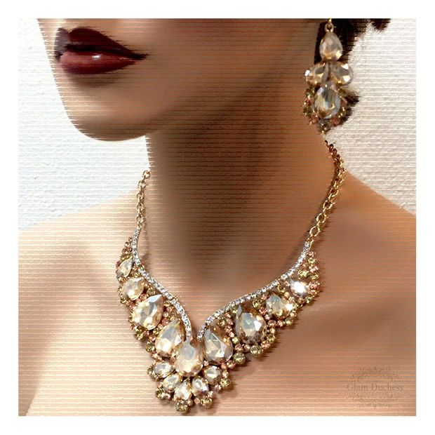 Wedding jewelry set, Bridal back drop bib necklace and earrings ...