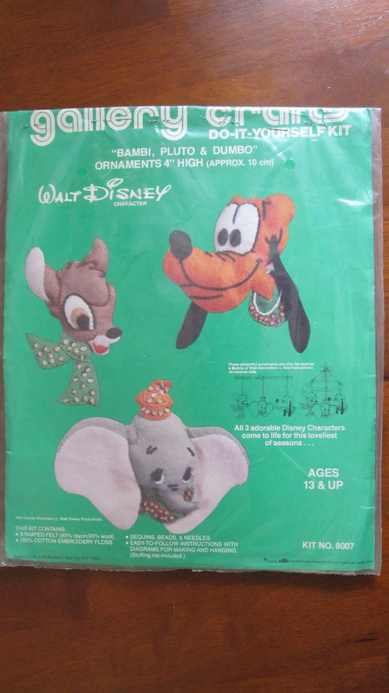 Bambi, Pluto & Dumbo Jeweled Felt Ornaments Kit 8007 Gallery Crafts 1978 Open #GalleryCrafts