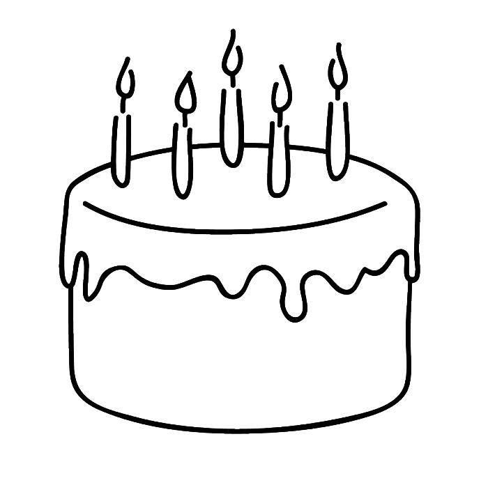 birthday cake that is simple and attractive coloring page - Coloring Pages Simple