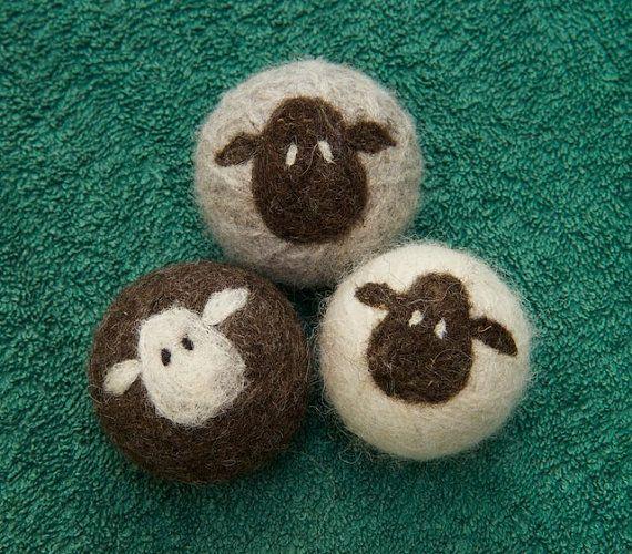 Felt Wool Dryer Balls Set of 3 sheep eco-friendly energy saving dryer balls, fiber art ornaments, housewarming gift, baby shower gift #feltedwoolcrafts