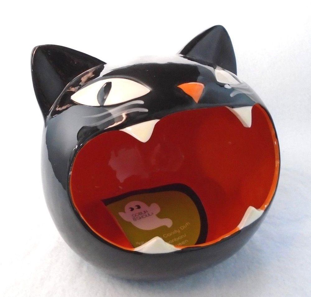 Goblin Ghoul Black Kitty Cat Halloween Candy Dish New Ebay Halloween Cat Cat Candy Black Cat