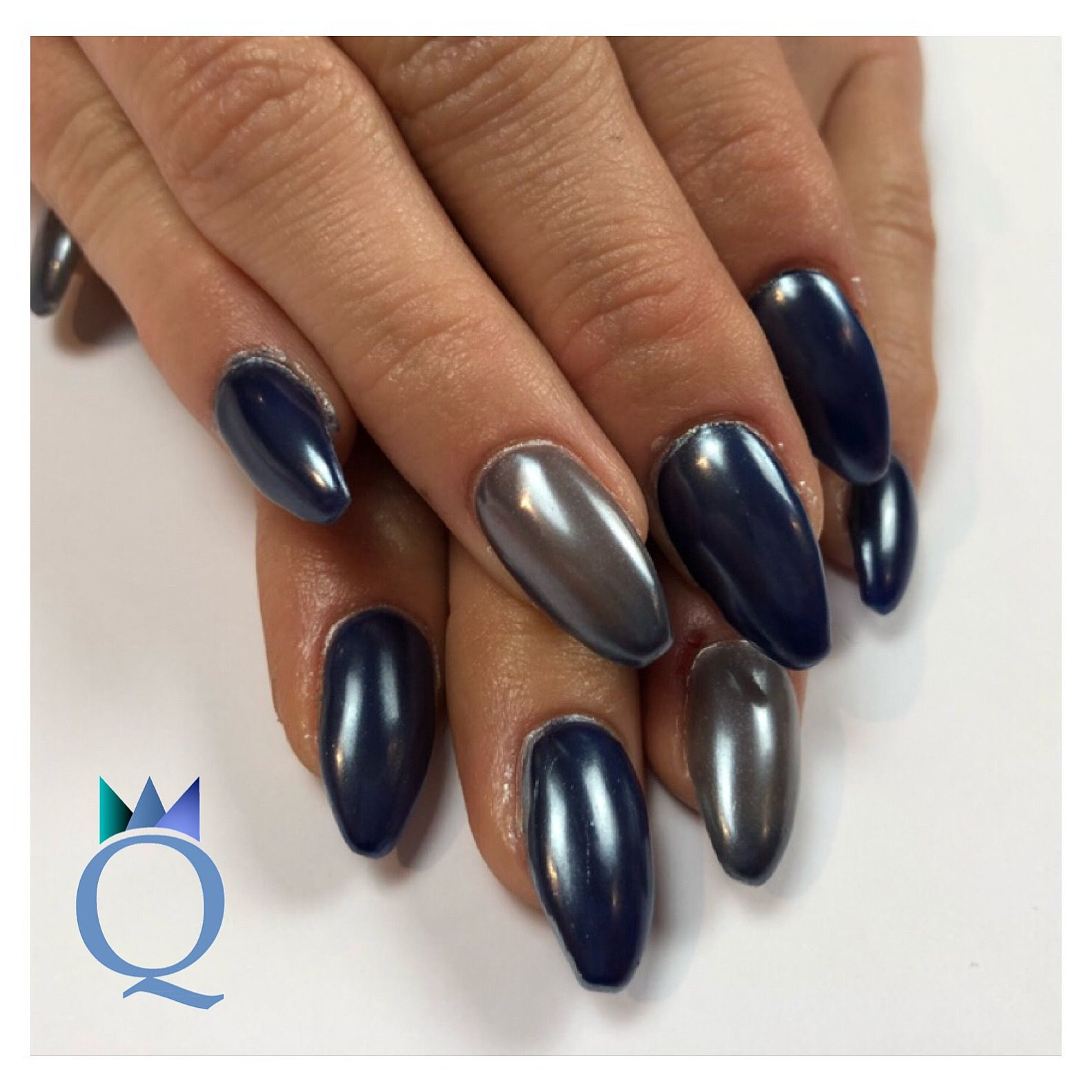 coffinnails #gelnails #nails #blue #grey #chrome #ballerinaform ...