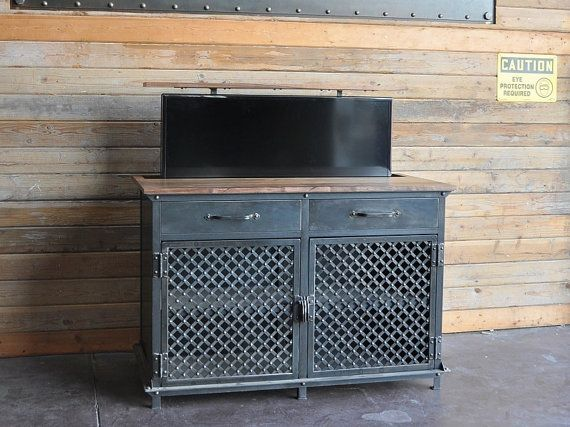 tv lift cabinet vintage industrial console popup hidden lcd console
