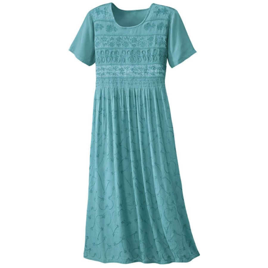 Embroidered crinkle rayon teal dress casual women s