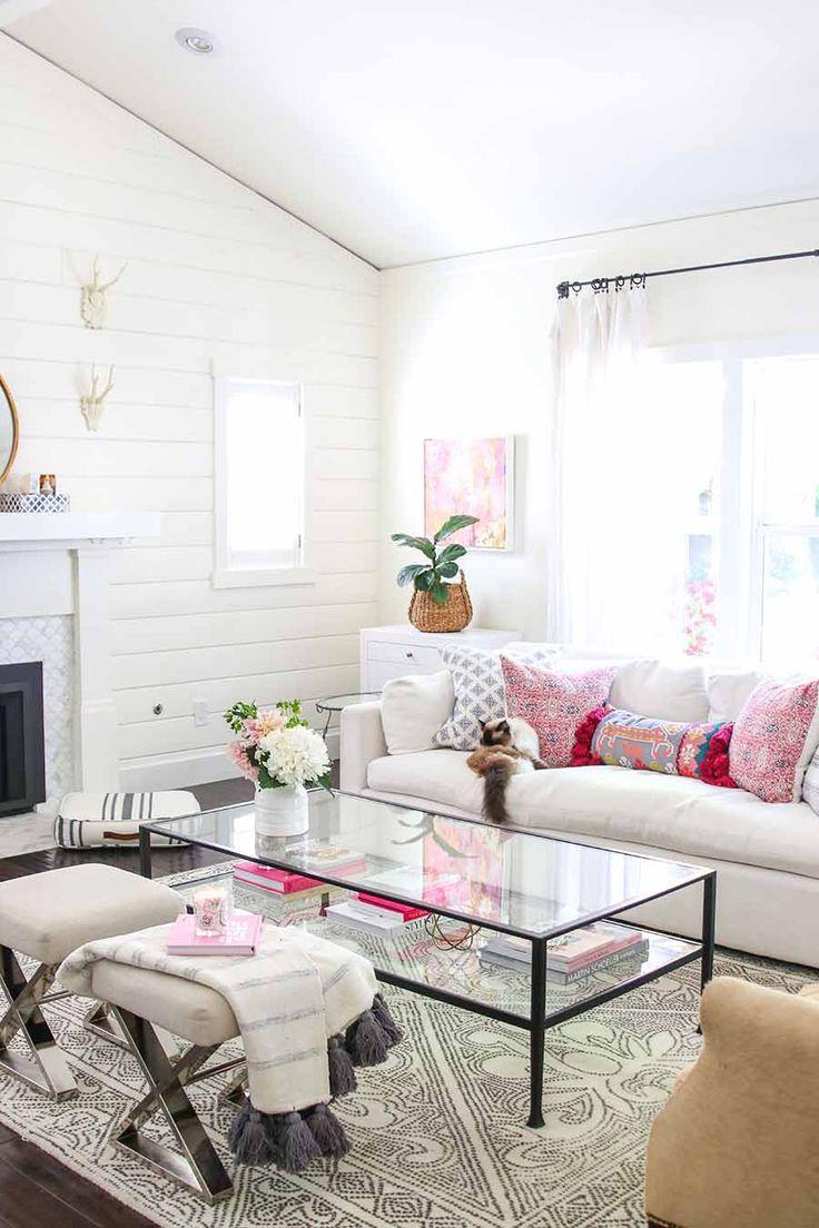 Wit met roze woonkamer | Interieur ideeën | Pinterest - Roze ...