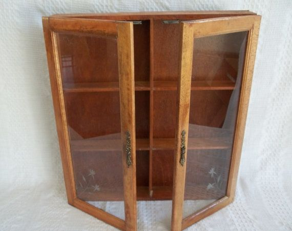 Vintage Wooden Wood Wall Display Cabinet Apothecary E Rack Medicine Chest Shot Gl Two Door Doors Front