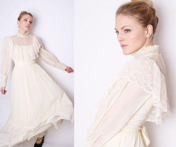 Vintage Edwardian Victorian Style Long Boho Lace Wedding Dress ...