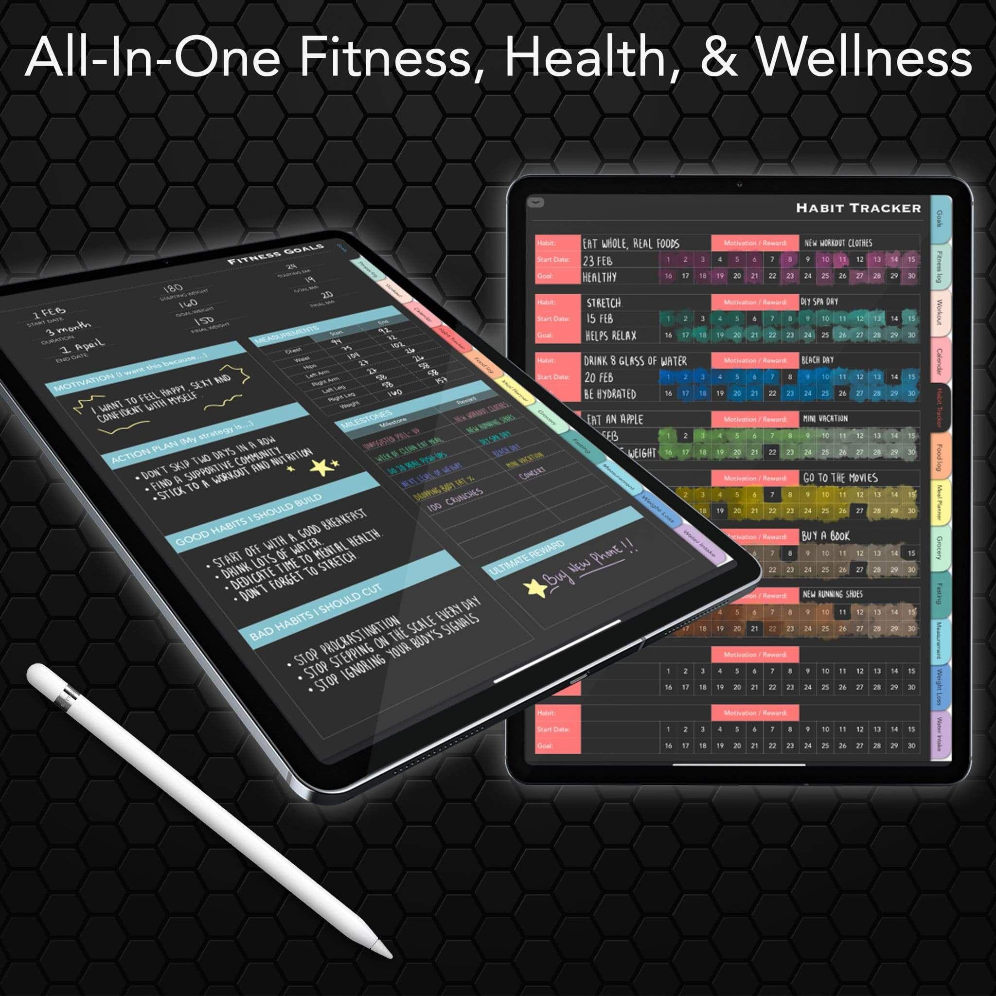 Dark Digital Health & Fitness Planner for Goodnotes, Notability or similar apps -   14 fitness Planner app ideas