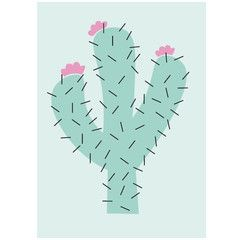 Cute Cactus Print in A3 from Munks and Me. Perfect for those bedroom walls!  printed on 180 gsm matt board inkjet designed and made in the UK