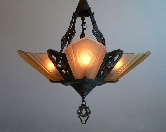Antique art deco slip shade chandelier by virden from art deco antique art deco slip shade chandelier by virden from aloadofball Gallery